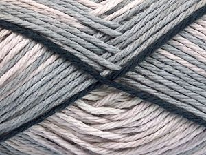 Colors in different lots may vary because of the charateristics of the yarn. Also see the package photos for the colorway in full; as skein photos may not show all colors. Fiber Content 100% Cotton, Light Grey, Brand Ice Yarns, Beige, Anthracite Black, Yarn Thickness 3 Light  DK, Light, Worsted, fnt2-66250
