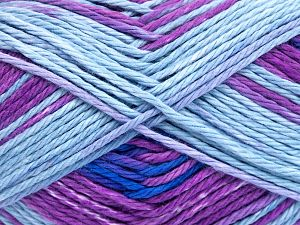 Colors in different lots may vary because of the charateristics of the yarn. Also see the package photos for the colorway in full; as skein photos may not show all colors. Fiber Content 100% Cotton, Light Lilac, Brand Ice Yarns, Fuchsia, Blue Shades, Yarn Thickness 3 Light  DK, Light, Worsted, fnt2-66252
