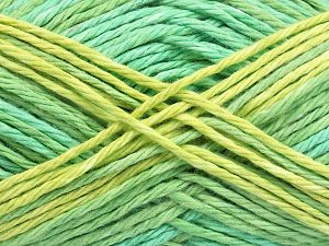 Colors in different lots may vary because of the charateristics of the yarn. Also see the package photos for the colorway in full; as skein photos may not show all colors. Fiber Content 100% Cotton, Brand Ice Yarns, Green Shades, Yarn Thickness 3 Light  DK, Light, Worsted, fnt2-66254