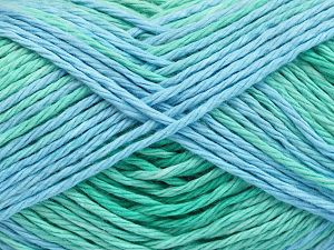Colors in different lots may vary because of the charateristics of the yarn. Also see the package photos for the colorway in full; as skein photos may not show all colors. Fiber Content 100% Cotton, Brand Ice Yarns, Green Shades, Blue Shades, Yarn Thickness 3 Light  DK, Light, Worsted, fnt2-66255