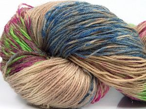 Please note that this is a hand-dyed yarn. Colors in different lots may vary because of the charateristics of the yarn. Also see the package photos for the colorway in full; as skein photos may not show all colors. Fiber Content 75% Super Wash Wool, 25% Polyamide, Light Green, Light Camel, Brand Ice Yarns, Fuchsia, Blue Shades, Yarn Thickness 1 SuperFine  Sock, Fingering, Baby, fnt2-66267