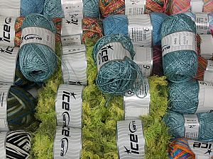 Fancy Yarns In this list; you see most recent 50 mixed lots. <br> To see all <a href=&/mixed_lots/o/4#list&>CLICK HERE</a> (Old ones have much better deals)<hr> This mixed lot includes a total of 2000 gr (70.5 oz.) yarn. There is no standard for ball weight. Also disregard any information on the labels. You will get what you see in the photo. Brand Ice Yarns, fnt2-66479