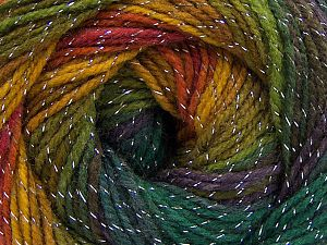 Fiber Content 95% Acrylic, 5% Lurex, Purple, Brand Ice Yarns, Green Shades, Gold, Copper, Yarn Thickness 3 Light  DK, Light, Worsted, fnt2-66547