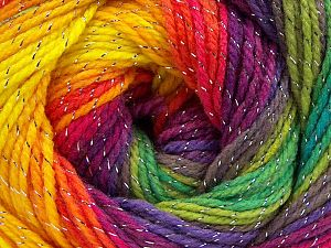 Fiber Content 95% Acrylic, 5% Lurex, Rainbow, Brand Ice Yarns, Yarn Thickness 3 Light  DK, Light, Worsted, fnt2-66548
