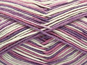Fiber Content 50% Cotton, 50% Acrylic, White, Lilac Shades, Brand Ice Yarns, Yarn Thickness 2 Fine  Sport, Baby, fnt2-66582