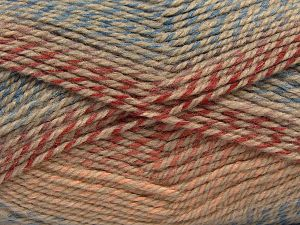 Fiber Content 50% Wool, 50% Premium Acrylic, Salmon Shades, Brand Ice Yarns, Copper, Camel, Blue, fnt2-66714