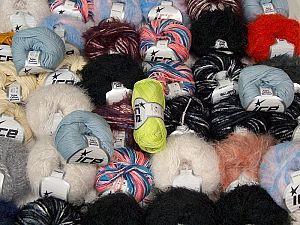 Fancy Yarns This mixed lot includes a total of 2000 gr (70.5 oz.) yarn. There is no standard for ball weight. Also disregard any information on the labels. You will get what you see in the photo. In this list; you see most recent 50 mixed lots. <br>