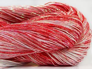 Please note that this is a spray-painted yarn. Colors in different lots may vary because of the charateristics of the yarn. Also see the package photos for the colorway in full; as skein photos may not show all colors. Fiber Content 60% Metallic Lurex, 40% Cotton, Red Shades, Brand Ice Yarns, fnt2-66844