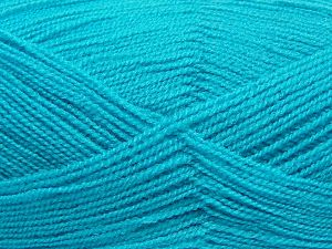 Net weight of the lot may be %5-10 percent missing or more. Very thin yarn. It is spinned as two threads. So you will knit as two threads. Yardage information is for only one strand. Fiber Content 100% Acrylic, Light Turquoise, Brand Ice Yarns, Yarn Thickness 1 SuperFine  Sock, Fingering, Baby, fnt2-66854