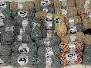 Summer Yarns This mixed lot includes a total of 2000 gr (70.5 oz.) yarn. There is no standard for ball weight. Also disregard any information on the labels. You will get what you see in the photo. In this list; you see most recent 50 mixed lots. <br> To see all <a href=&/mixed_lots/o/4#list&>CLICK HERE</a> (Old ones have much better deals)<hr> Brand Ice Yarns, fnt2-66879
