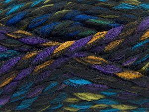 Fiber Content 75% Acrylic, 25% Wool, Rainbow, Brand Ice Yarns, Black, Yarn Thickness 5 Bulky  Chunky, Craft, Rug, fnt2-67145