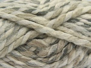 Fiber Content 75% Acrylic, 25% Wool, Brand Ice Yarns, Grey Shades, Cream, Camel, Yarn Thickness 6 SuperBulky  Bulky, Roving, fnt2-67146