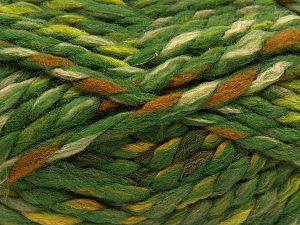 Fiber Content 75% Acrylic, 25% Wool, Orange, Brand Ice Yarns, Green Shades, Gold, Cream, Yarn Thickness 6 SuperBulky  Bulky, Roving, fnt2-67153