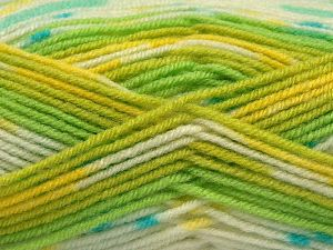 Fiber Content 75% Premium Acrylic, 25% Wool, Yellow, White, Turquoise, Brand Ice Yarns, Green Shades, Yarn Thickness 3 Light  DK, Light, Worsted, fnt2-67252