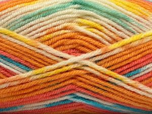 Fiber Content 75% Premium Acrylic, 25% Wool, Yellow, White, Turquoise, Salmon, Mint Green, Brand Ice Yarns, Gold, Yarn Thickness 3 Light  DK, Light, Worsted, fnt2-67260