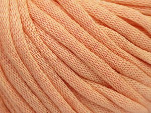 This is a tube-like yarn with soft cotton fleece filled inside. Fiber Content 70% Cotton, 30% Polyester, Light Salmon, Brand Ice Yarns, Yarn Thickness 5 Bulky  Chunky, Craft, Rug, fnt2-67310