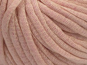 This is a tube-like yarn with soft cotton fleece filled inside. Fiber Content 70% Cotton, 30% Polyester, Brand Ice Yarns, Baby Pink, Yarn Thickness 5 Bulky  Chunky, Craft, Rug, fnt2-67312
