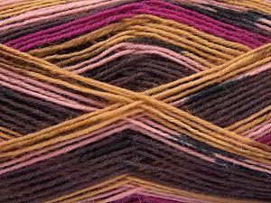 Fiber Content 75% Superwash Wool, 25% Polyamide, Pink Shades, Maroon, Brand Ice Yarns, Camel, Yarn Thickness 1 SuperFine  Sock, Fingering, Baby, fnt2-67412