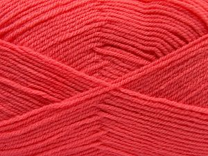 Cold Rinse. Short spin. Do not wring. Do not iron. Dry cleanable. Do not bleach. Fiber Content 55% Acrylic, 45% Nylon, Salmon, Brand Ice Yarns, fnt2-67654