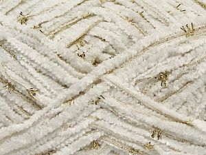 Fiber Content 85% Polyester, 15% Metallic Lurex, White, Brand Ice Yarns, Gold, fnt2-67661