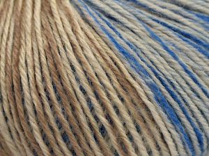 Fiber Content 75% Superwash Wool, 25% Polyamide, Brand Ice Yarns, Ecru, Camel, Blue, fnt2-67748
