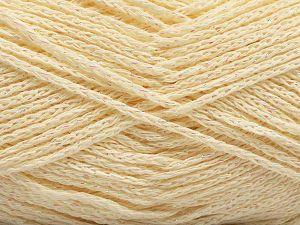 Fiber Content 88% Cotton, 12% Metallic Lurex, Iridescent, Brand Ice Yarns, Cream, fnt2-67829