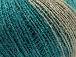This is a self-striping yarn. Please see package photo for the color combination. Fiber Content 75% Acrylic, 25% Wool, Turquoise, Brand Ice Yarns, Camel, Blue Shades, Beige, fnt2-67917