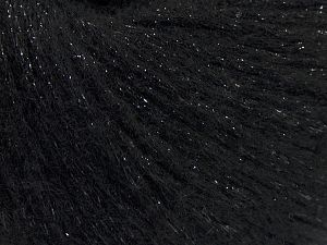 Fiber Content 7% Viscose, 56% Metallic Lurex, 20% Acrylic, 17% Wool, Brand Ice Yarns, Black, fnt2-67949