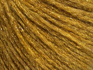 Fiber Content 7% Viscose, 56% Metallic Lurex, 20% Acrylic, 17% Wool, Brand Ice Yarns, Gold, fnt2-67964