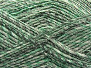 Fiber Content 9% Viscose, 62% Acrylic, 19% Alpaca, 10% Wool, Brand Ice Yarns, Grey Shades, Green, fnt2-67988