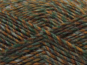 Fiber Content 9% Viscose, 62% Acrylic, 19% Alpaca, 10% Wool, Brand Ice Yarns, Grey, Green, Gold, Brown, fnt2-67989
