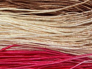 Fiber Content 50% Polyester, 50% Cotton, Brand Ice Yarns, Fuchsia, Cream, Brown, fnt2-68062