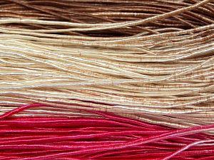 Fiber Content 50% Polyester, 50% Cotton, Brand Ice Yarns, Fuchsia, Cream, Brown, fnt2-68062