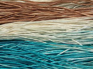 Fiber Content 50% Polyester, 50% Cotton, Turquoise, Brand Ice Yarns, Cream, Brown, fnt2-68063