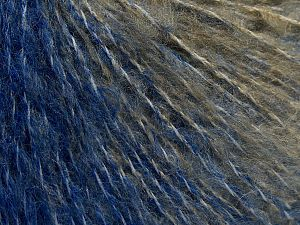 Fiber Content 70% Acrylic, 20% Nylon, 10% Wool, Brand Ice Yarns, Grey, Camel, Blue, fnt2-68134