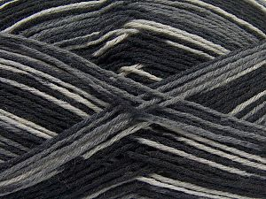Fiber Content 75% Superwash Wool, 25% Polyamide, Brand Ice Yarns, Grey Shades, Black, fnt2-68198