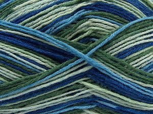 Fiber Content 75% Superwash Wool, 25% Polyamide, Brand Ice Yarns, Green Shades, Blue Shades, fnt2-68199