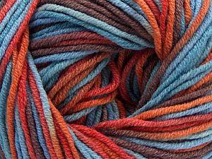 Fiber Content 55% Cotton, 45% Acrylic, Orange, Brand Ice Yarns, Brown, Blue, Yarn Thickness 3 Light DK, Light, Worsted, fnt2-68246