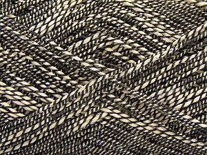 Fiber Content 50% Cotton, 38% Nylon, 12% Metallic Lurex, Brand Ice Yarns, Cream, Black, fnt2-68403