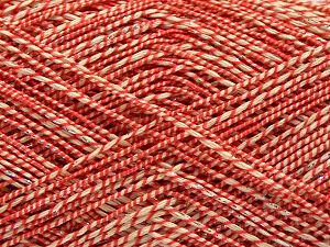 Fiber Content 50% Cotton, 38% Nylon, 12% Metallic Lurex, Red, Brand Ice Yarns, Cream, fnt2-68407