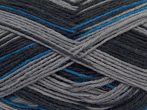 Fiber Content 75% Superwash Wool, 25% Polyamide, Brand Ice Yarns, Grey, Blue, Black, fnt2-68423