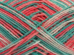 Fiber Content 100% Acrylic, White, Salmon Shades, Mint Green, Brand Ice Yarns, fnt2-68635
