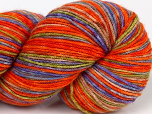 Please note that this is a hand-dyed yarn. Colors in different lots may vary because of the charateristics of the yarn. Also see the package photos for the colorway in full; as skein photos may not show all colors. Fiber Content 75% Superwash Merino Wool, 25% Polyamide, Orange Shades, Lilac, Brand Ice Yarns, Green, Camel, Blue, fnt2-68868