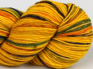 Please note that this is a hand-dyed yarn. Colors in different lots may vary because of the charateristics of the yarn. Also see the package photos for the colorway in full; as skein photos may not show all colors. Fiber Content 75% Superwash Merino Wool, 25% Polyamide, Yellow Shades, Purple, Brand Ice Yarns, Green, fnt2-68869