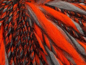 Fiber Content 45% Wool, 25% Acrylic, 20% Alpaca, 10% Metallic Lurex, Neon Orange, Brand Ice Yarns, Grey, Black, fnt2-68933