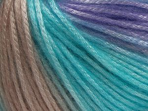 Fiber Content 56% Polyester, 44% Acrylic, Turquoise, Powder Pink, Lilac, Brand Ice Yarns, fnt2-68988