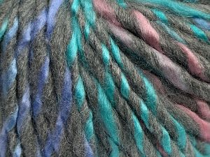 Fiber Content 85% Acrylic, 15% Wool, Turquoise, Pink, Lilac, Light Grey, Brand Ice Yarns, fnt2-69003