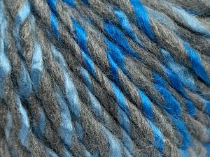 Fiber Content 85% Acrylic, 15% Wool, Light Grey, Brand Ice Yarns, Blue Shades, fnt2-69005