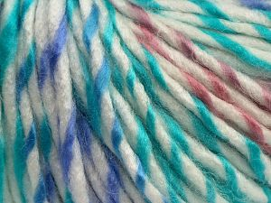 Fiber Content 85% Acrylic, 15% Wool, White, Turquoise, Pink, Lilac, Brand Ice Yarns, fnt2-69014