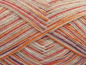 Fiber Content 60% Viscose, 30% Acrylic, 10% Cashmere, Salmon, Purple, Orange, Brand Ice Yarns, Beige, fnt2-69327